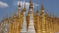 Buddhist Pagodas at Shwe Inn Thein Temple, Inle Lake, Myanmar (Burma) video