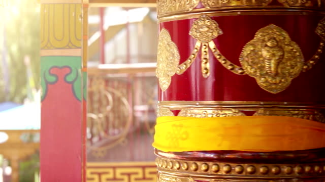 Buddhist prayer wheel rotating in one of the monasteries in Ladakh video