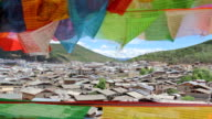 Buddhist tibetan prayer flags waving in the wind video