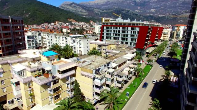 Budva, Montenegro, New Town, aerial video