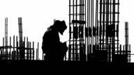 Builder welder weld fittings on site. video