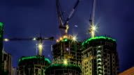 Building construction site at twilight video