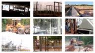 Building of industrial complex, multiscreen video