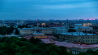 Building of Kunstkamera and the cityscape night to day timelapse viewed from the colonnade of St. Isaac's cathedral video