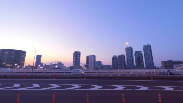Buildings and bridge at dusk -4K- video