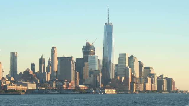 Buildings around One World Trade Center reflecting on glassy facade video