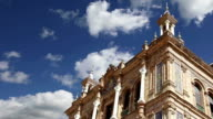 Buildings on the Famous Plaza de Espana (was the venue for the Latin American Exhibition of 1929 )  - Spanish Square in Seville, Andalusia, Spain. Old landmark video