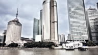 Buildings on the water in Shanghai video
