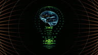 Bulb with a brain inside, concept design. digital animation. video