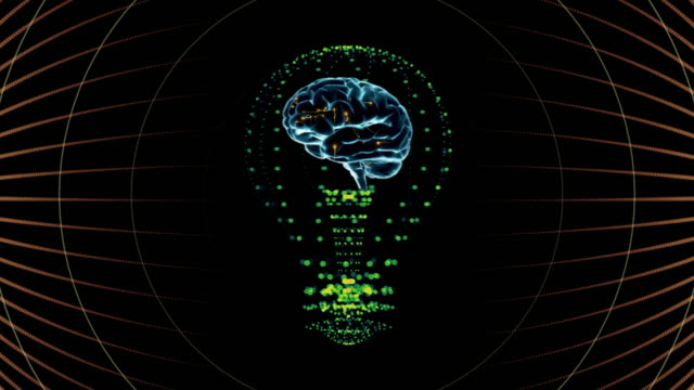 Bulb with a brain inside, concept design. digital animation. video