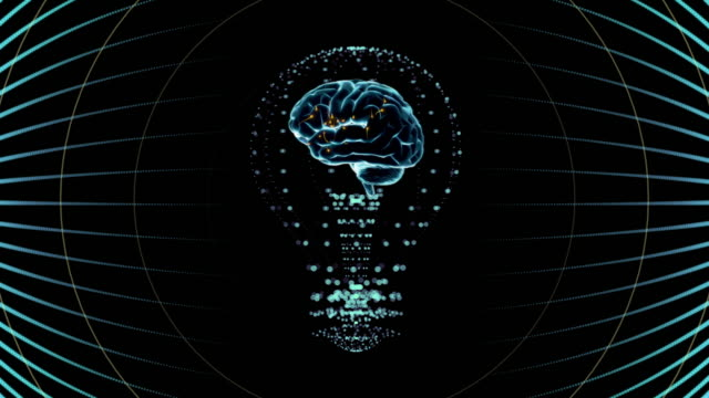 Bulb with a brain inside, concept design in blue. digital animation. video