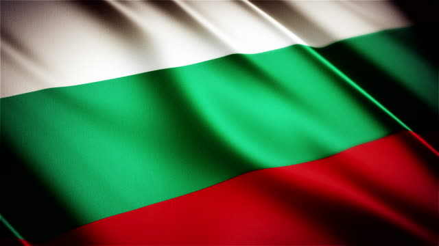 Bulgaria realistic national flag seamless looped waving animation video