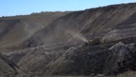 Bulldozer moving earth at a coal mine site video