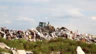 Bulldozer on landfill video