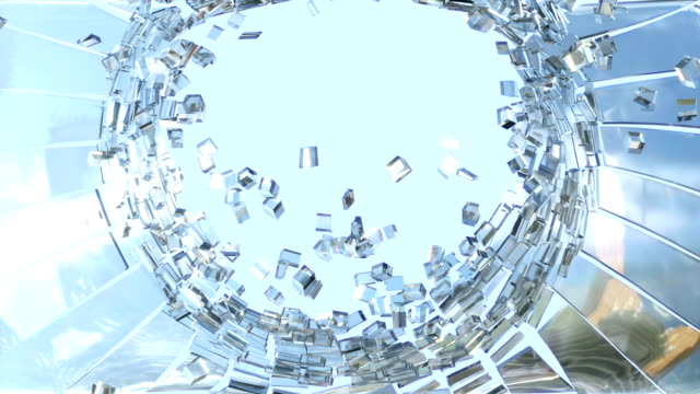 Bullet hole: Shattered glass with slow motion video