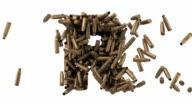 Bullet shell font. Letter P, Q, R, S, T. Alpha matte video