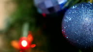 A bunch of blue balls on the Christmas tree video