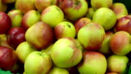 Bunch of green apples on boxes in supermarket. video