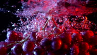 Bunch of red grapes falling into water close up super slow motion shot video