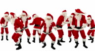 Bunch of Santa Claus Dancing Against White, Christmas Holiday Background video