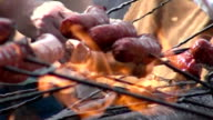bunch of  sausages on fire video