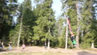 Bungee rope swing in action video