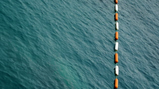 Buoys in the sea. Restrictive and rescue buoys video