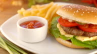 burger with french fries and ketchup video