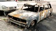 Burned Car in Donbass WAR video