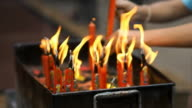 HD Burning  candles at the Chinese temple video