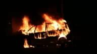 Burning car in the night video