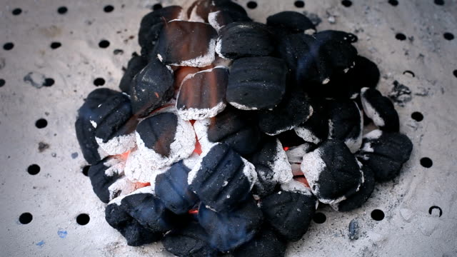 Burning charcoal grill video