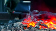 Burning Coal in Blacksmith Shop video