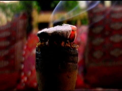 Burning Coal Tobacco on top Nargile Turkish Water Pipe Hookah video