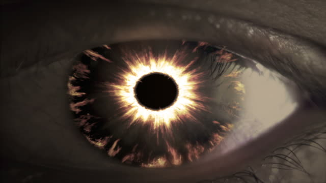 Burning evil devil eye. Metaphorical evil. video