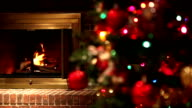 Burning Fireplace Shifting Focus to Decorated Christmas Tree video