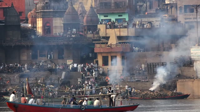 Burning Ghat By the Ganges River in Varanasi video