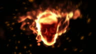 Burning Human Skull With Fast Camera Movement video