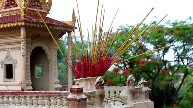 Burning incense In A Temple, Cambodia video