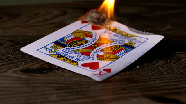 Burning king of hearts poker card video