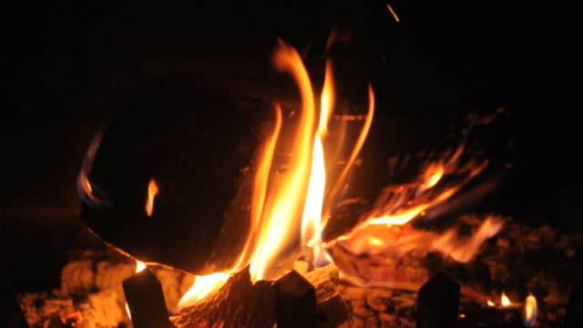 Burning Logs in Fireplace video