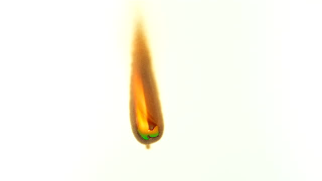 Burning white paper on green screen  background. video