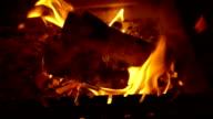 Burning wood in a brazier video