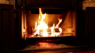 Burning Wood In The Fireplace video