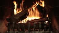 Burning Wood Inside Fireplace video