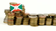 Burundi flag with stack of money coins video