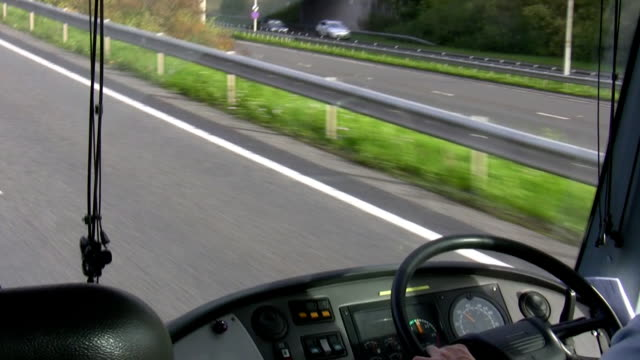 Bus dashboard and steering wheel video