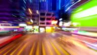 Bus driving through modern city hongkong,timelapse video
