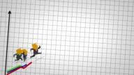busines man run graph video