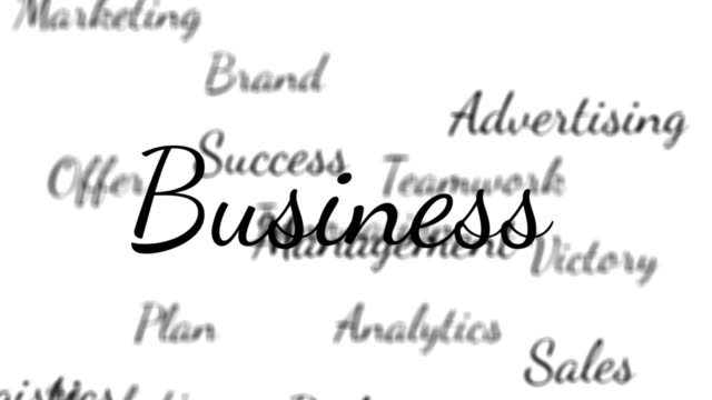 Business and marketing words background loop with matte video
